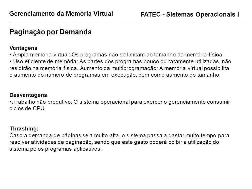 Gerenciamento da Memória Virtual FATEC - Sistemas Operacionais I Paginação por Demanda Vantagens Ampla memória virtual: Os programas não se limitam ao