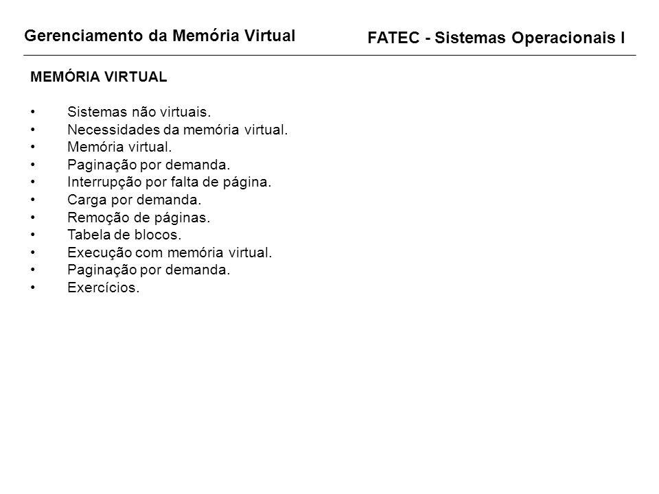 MEMÓRIA VIRTUAL Sistemas não virtuais. Necessidades da memória virtual. Memória virtual. Paginação por demanda. Interrupção por falta de página. Carga