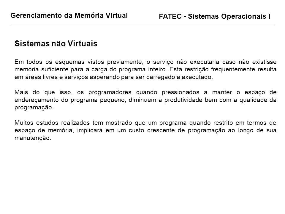 FATEC - Sistemas Operacionais I Sistemas não Virtuais Em todos os esquemas vistos previamente, o serviço não executaria caso não existisse memória suf