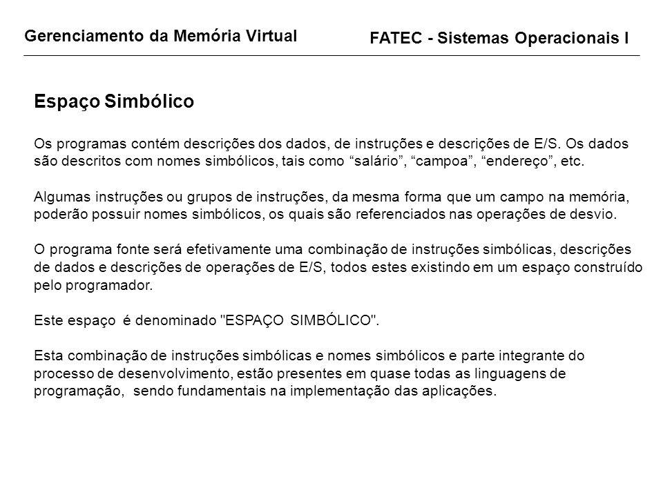 Gerenciamento da Memória Virtual FATEC - Sistemas Operacionais I Espaço Simbólico Os programas contém descrições dos dados, de instruções e descrições