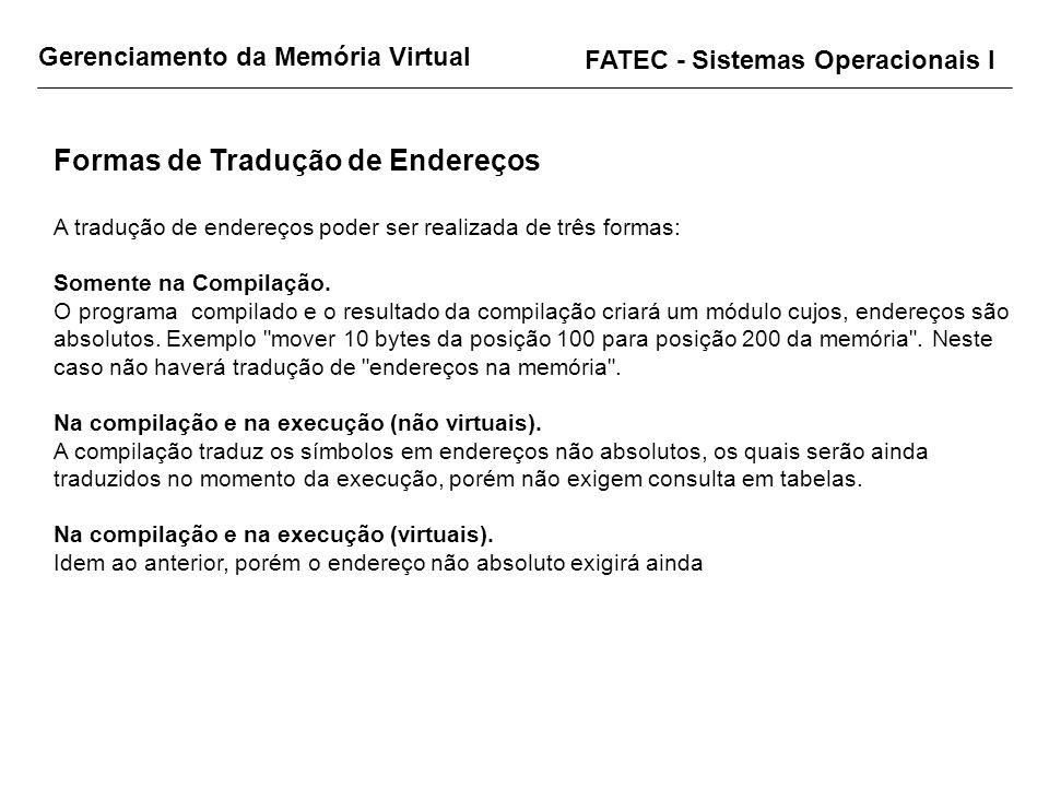 Gerenciamento da Memória Virtual FATEC - Sistemas Operacionais I Formas de Tradução de Endereços A tradução de endereços poder ser realizada de três f