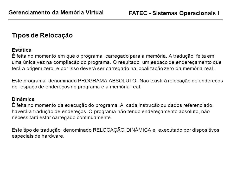 Gerenciamento da Memória Virtual FATEC - Sistemas Operacionais I Tipos de Relocação Estática É feita no momento em que o programa carregado para a mem