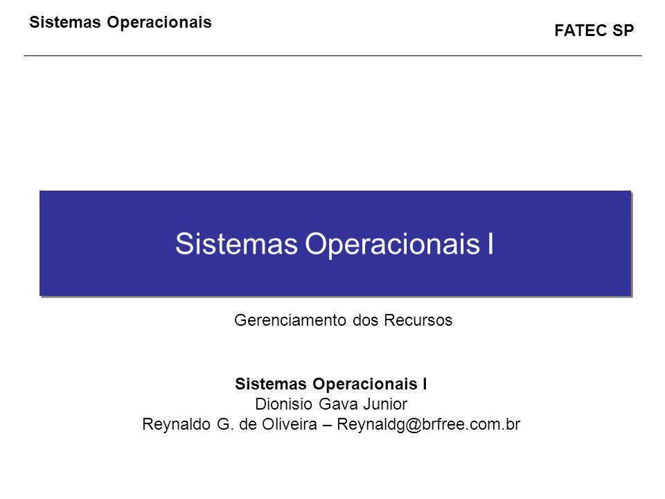 FATEC SP Sistemas Operacionais Sistemas Operacionais I Dionisio Gava Junior Reynaldo G. de Oliveira – Reynaldg@brfree.com.br Gerenciamento dos Recurso