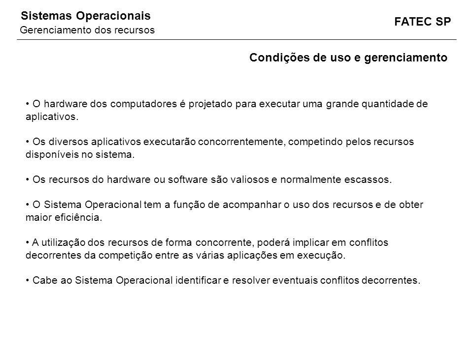 FATEC SP Sistemas Operacionais O hardware dos computadores é projetado para executar uma grande quantidade de aplicativos. Os diversos aplicativos exe