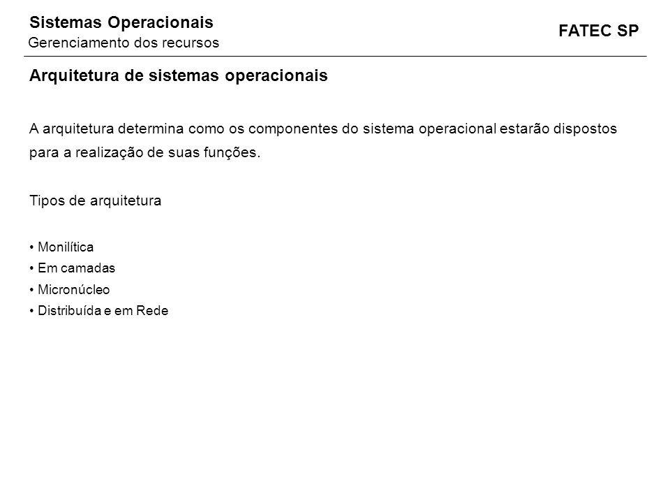 FATEC SP Sistemas Operacionais Arquitetura de sistemas operacionais A arquitetura determina como os componentes do sistema operacional estarão dispost