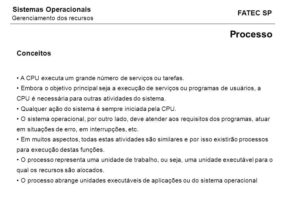 FATEC SP Sistemas Operacionais Conceitos A CPU executa um grande número de serviços ou tarefas. Embora o objetivo principal seja a execução de serviço