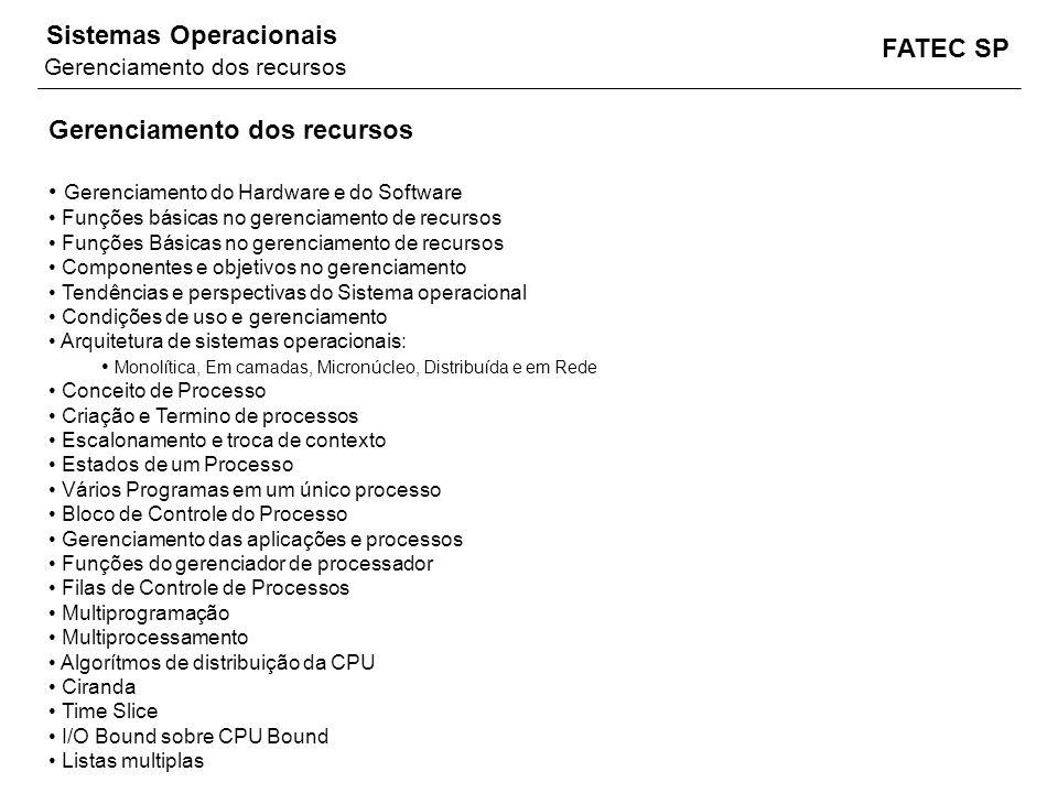 FATEC SP Sistemas Operacionais Gerenciamento dos recursos Gerenciamento do Hardware e do Software Funções básicas no gerenciamento de recursos Funções