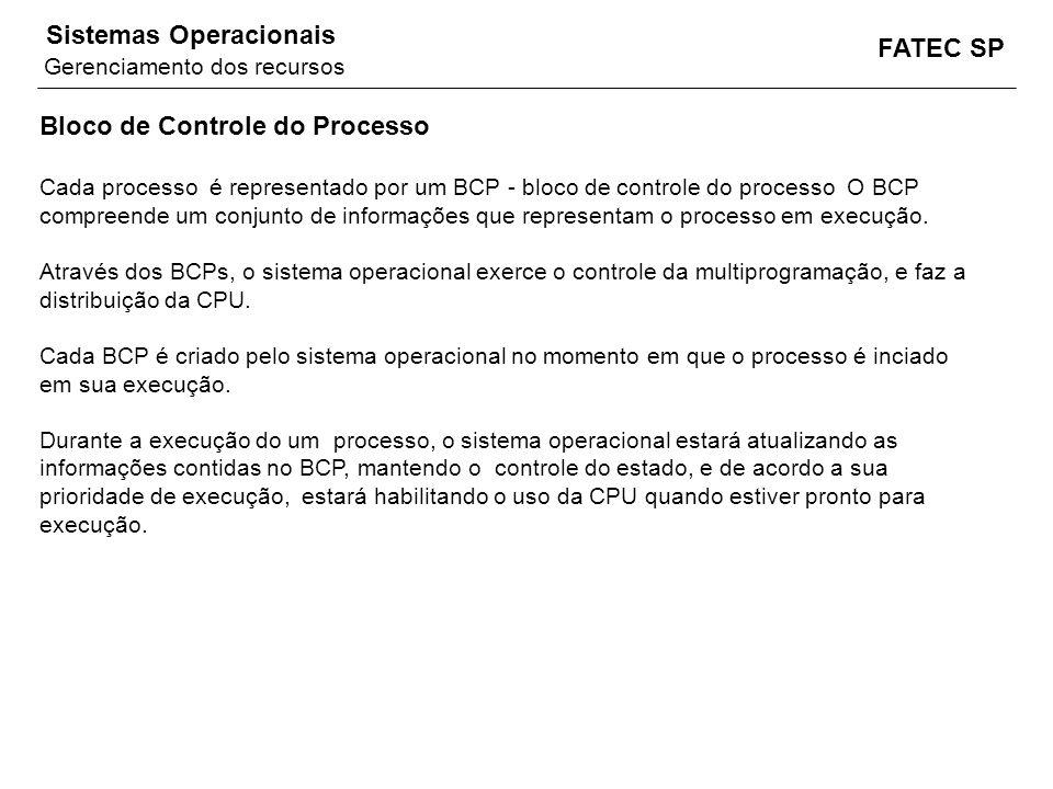 FATEC SP Sistemas Operacionais Bloco de Controle do Processo Cada processo é representado por um BCP - bloco de controle do processo O BCP compreende