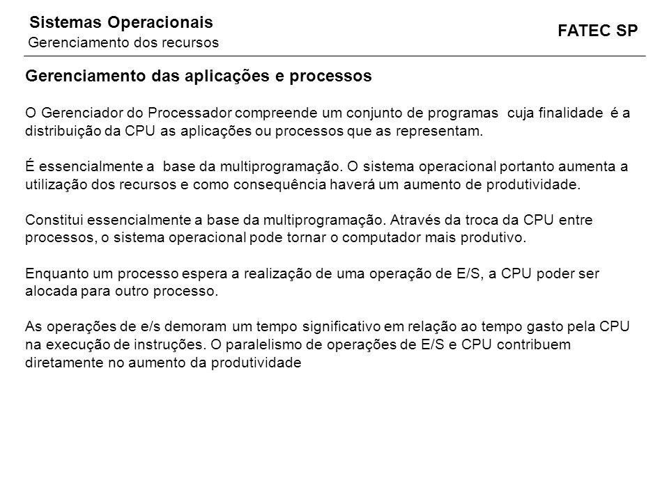 FATEC SP Sistemas Operacionais Gerenciamento das aplicações e processos O Gerenciador do Processador compreende um conjunto de programas cuja finalida