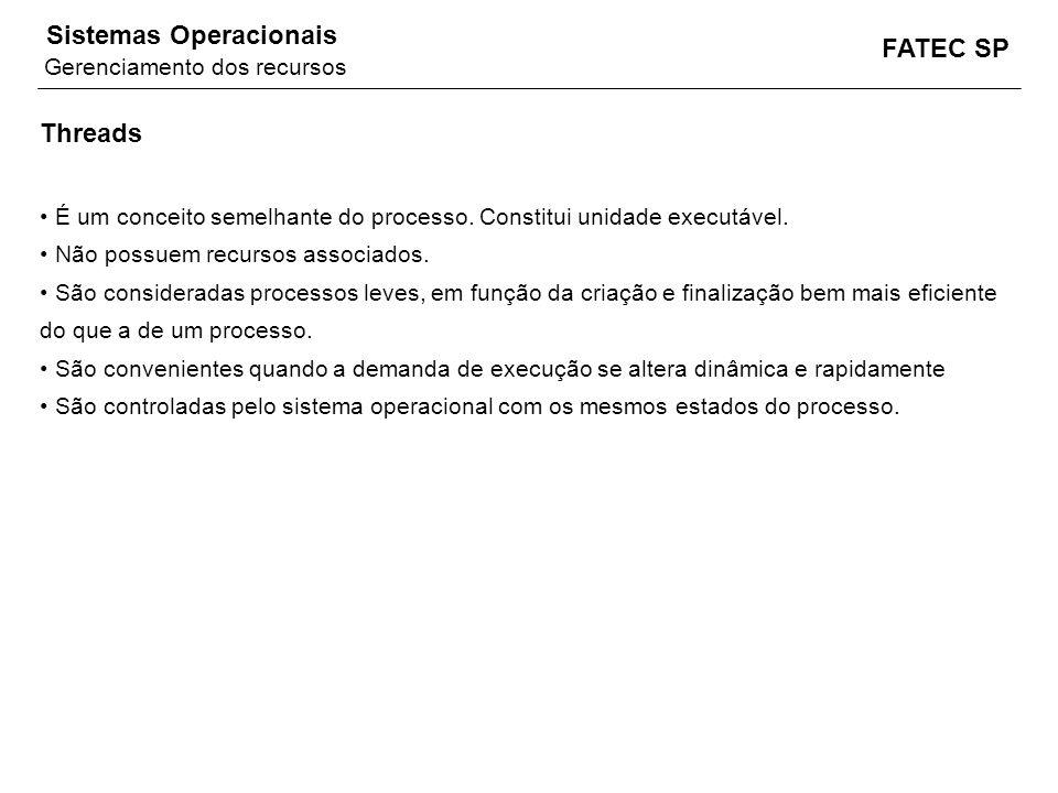 FATEC SP Sistemas Operacionais Threads É um conceito semelhante do processo. Constitui unidade executável. Não possuem recursos associados. São consid