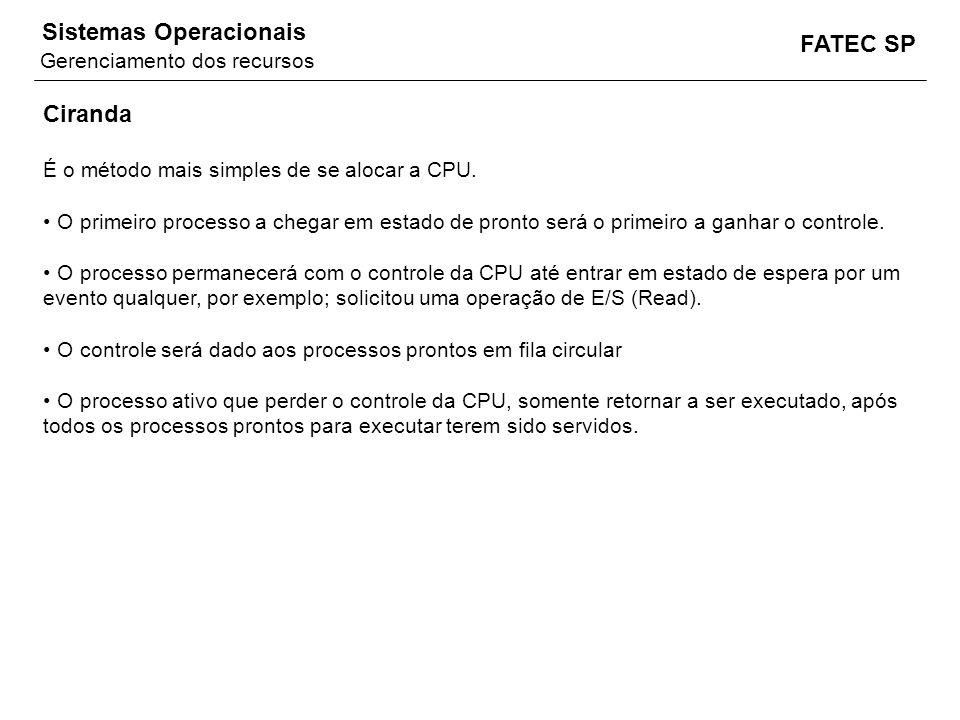 FATEC SP Sistemas Operacionais Ciranda É o método mais simples de se alocar a CPU. O primeiro processo a chegar em estado de pronto será o primeiro a