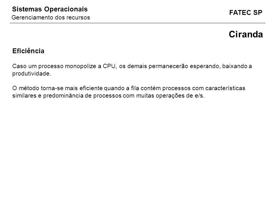 FATEC SP Sistemas Operacionais Ciranda Eficiência Caso um processo monopolize a CPU, os demais permanecerão esperando, baixando a produtividade. O mét