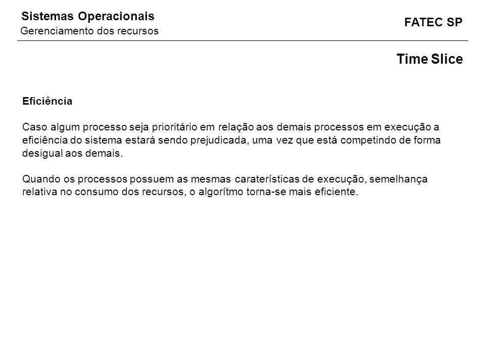 FATEC SP Sistemas Operacionais Time Slice Eficiência Caso algum processo seja prioritário em relação aos demais processos em execução a eficiência do