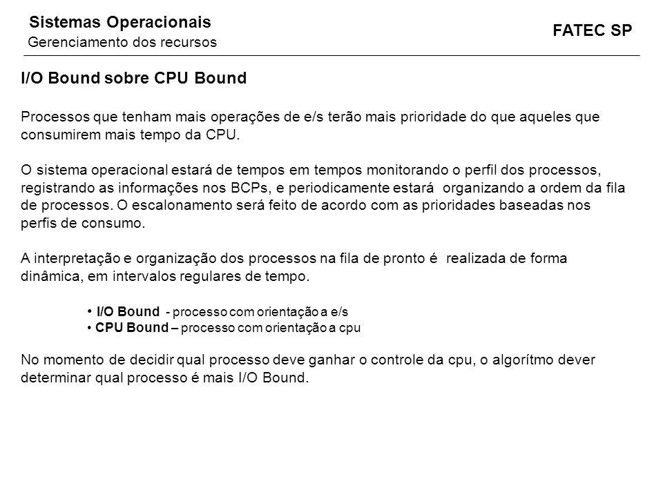 FATEC SP Sistemas Operacionais I/O Bound sobre CPU Bound Processos que tenham mais operações de e/s terão mais prioridade do que aqueles que consumire