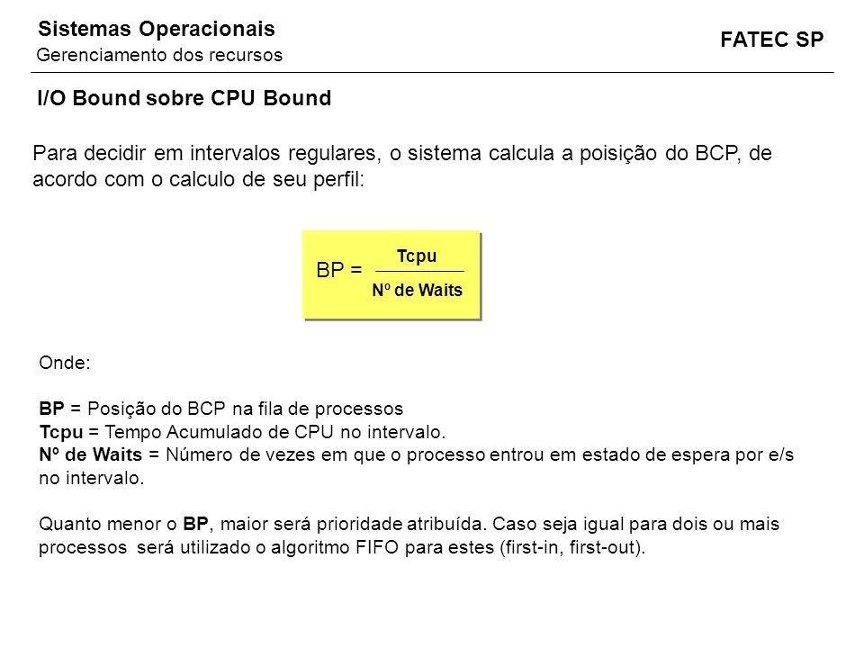 FATEC SP Sistemas Operacionais Onde: BP = Posição do BCP na fila de processos Tcpu = Tempo Acumulado de CPU no intervalo. Nº de Waits = Número de veze