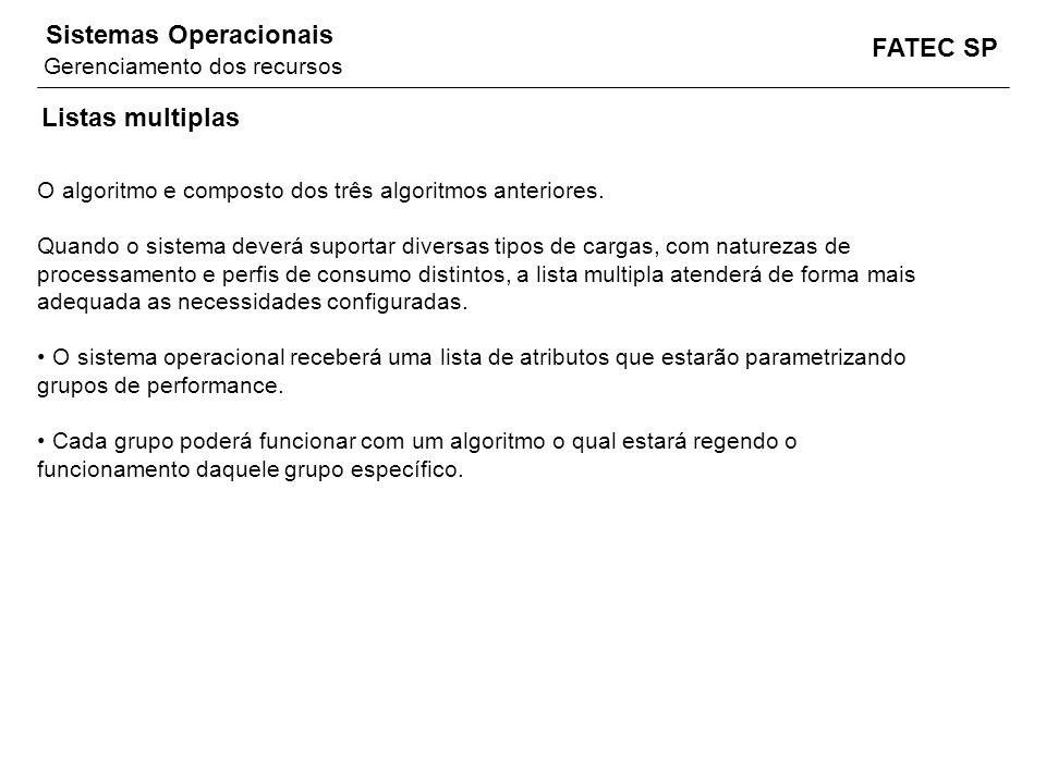 FATEC SP Sistemas Operacionais Listas multiplas O algoritmo e composto dos três algoritmos anteriores. Quando o sistema deverá suportar diversas tipos
