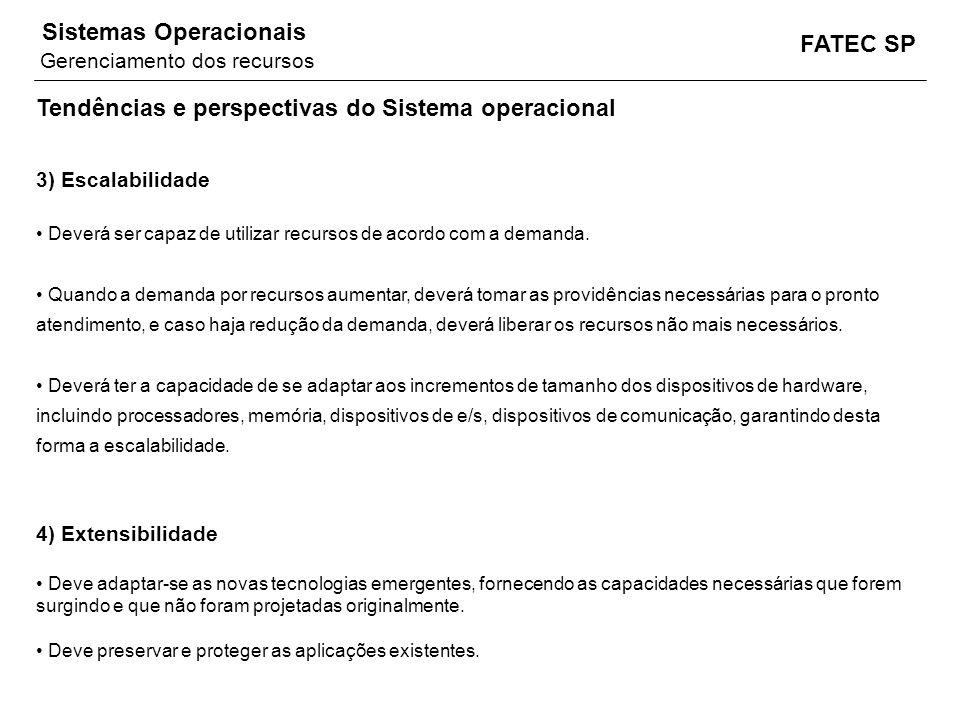FATEC SP Sistemas Operacionais Tendências e perspectivas do Sistema operacional 3) Escalabilidade Deverá ser capaz de utilizar recursos de acordo com