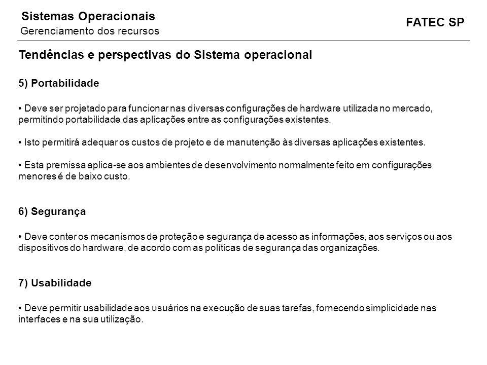 FATEC SP Sistemas Operacionais Tendências e perspectivas do Sistema operacional 5) Portabilidade Deve ser projetado para funcionar nas diversas config
