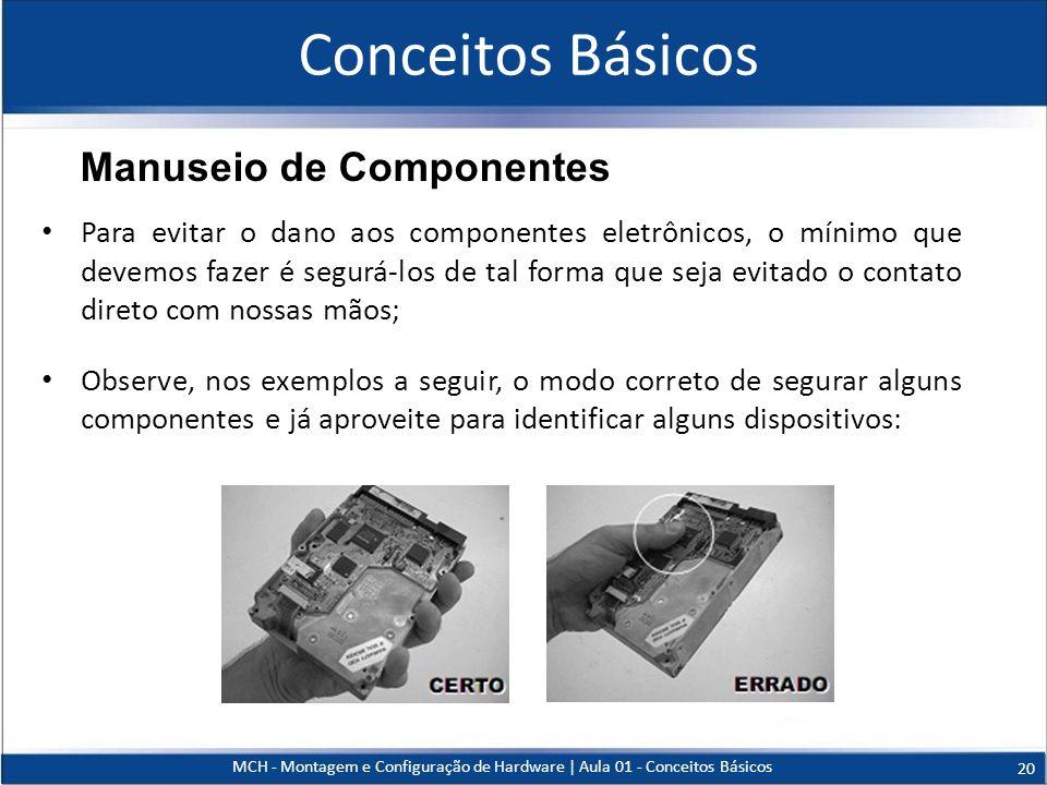 Conceitos Básicos Para evitar o dano aos componentes eletrônicos, o mínimo que devemos fazer é segurá-los de tal forma que seja evitado o contato dire