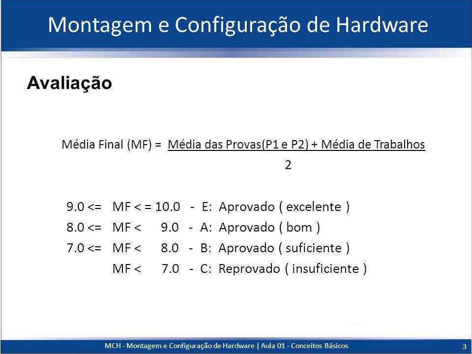 MCH - Montagem e Configuração de Hardware   Aula 01 - Conceitos Básicos 3 Avaliação Montagem e Configuração de Hardware Média Final (MF) = Média das P