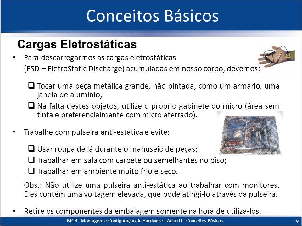 Conceitos Básicos Para descarregarmos as cargas eletrostáticas (ESD – EletroStatic Discharge) acumuladas em nosso corpo, devemos: Tocar uma peça metál