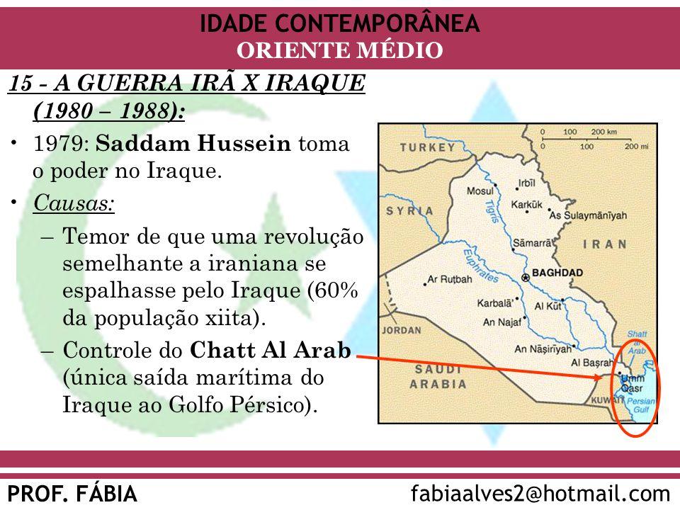 IDADE CONTEMPORÂNEA PROF.FÁBIA fabiaalves2@hotmail.com ORIENTE MÉDIO Vantagem inicial do Iraque.