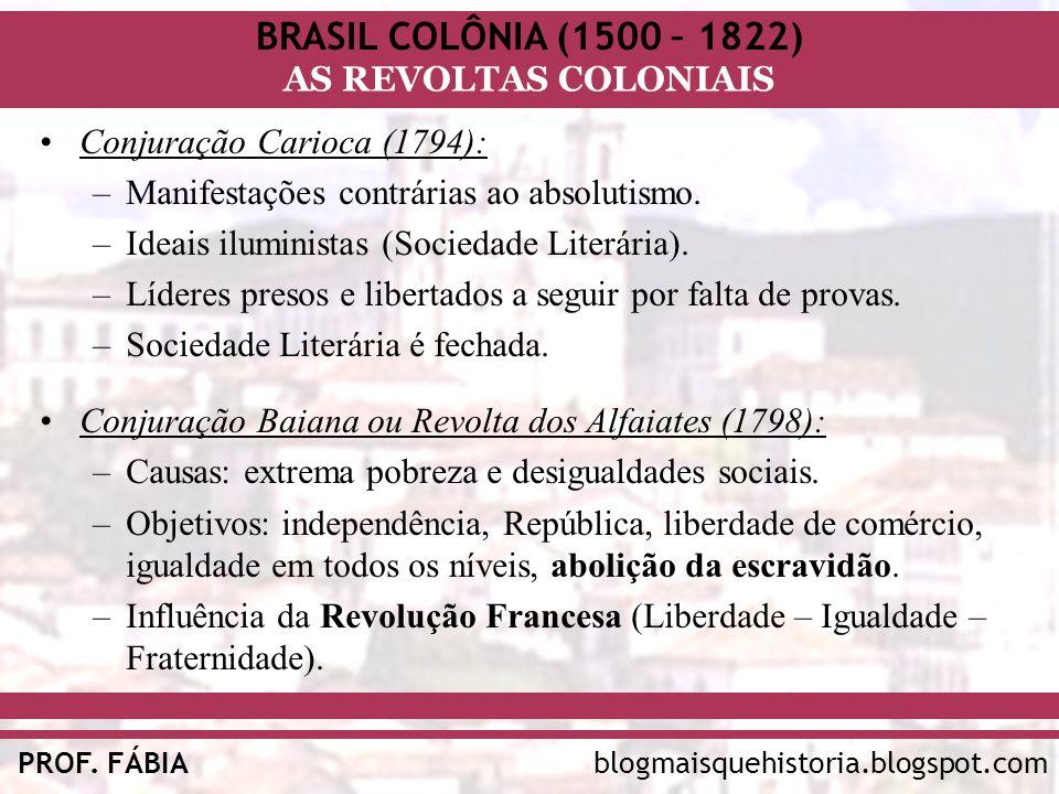 BRASIL COLÔNIA (1500 – 1822) AS REVOLTAS COLONIAIS blogmaisquehistoria.blogspot.comPROF. FÁBIA Conjuração Carioca (1794): –Manifestações contrárias ao