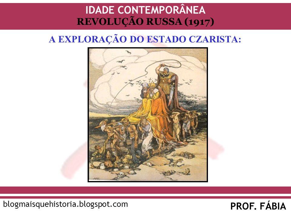 IDADE CONTEMPORÂNEA PROF. FÁBIA blogmaisquehistoria.blogspot.com REVOLUÇÃO RUSSA (1917) A EXPLORAÇÃO DO ESTADO CZARISTA: