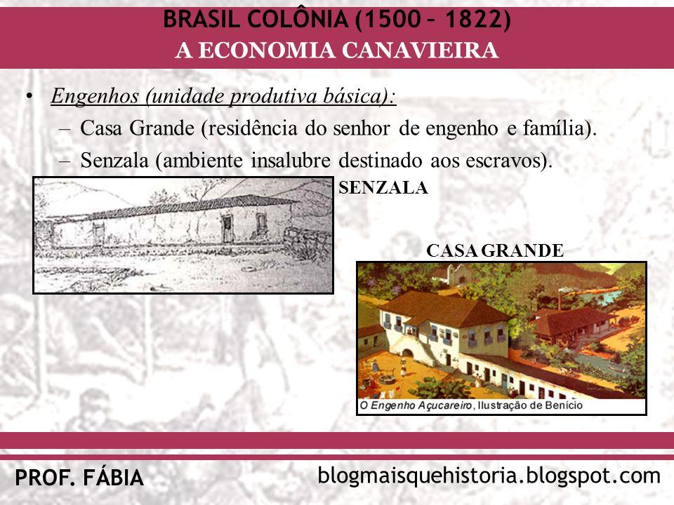 BRASIL COLÔNIA (1500 – 1822) blogmaisquehistoria.blogspot.com PROF. FÁBIA A ECONOMIA CANAVIEIRA Engenhos (unidade produtiva básica): –Casa Grande (res