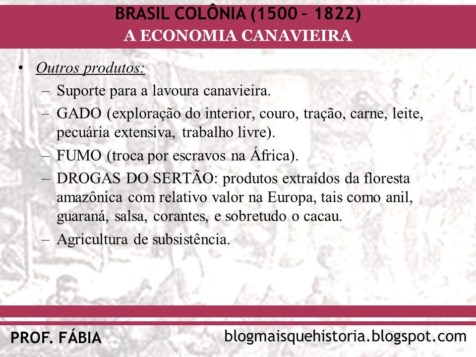 BRASIL COLÔNIA (1500 – 1822) blogmaisquehistoria.blogspot.com PROF. FÁBIA A ECONOMIA CANAVIEIRA Outros produtos: –Suporte para a lavoura canavieira. –