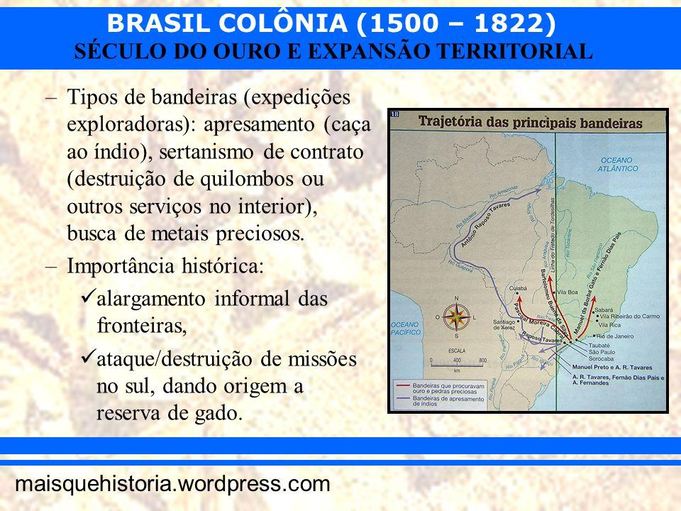 BRASIL COLÔNIA (1500 – 1822) maisquehistoria.wordpress.com SÉCULO DO OURO E EXPANSÃO TERRITORIAL –Tipos de bandeiras (expedições exploradoras): apresa