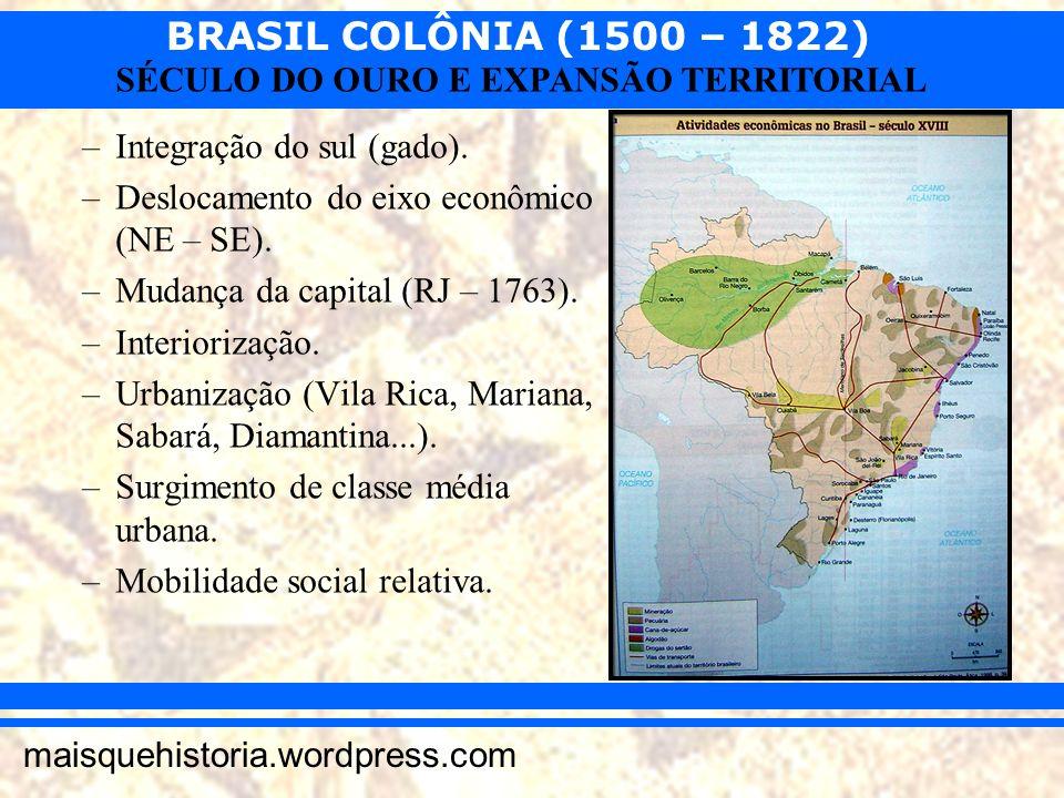 BRASIL COLÔNIA (1500 – 1822) maisquehistoria.wordpress.com SÉCULO DO OURO E EXPANSÃO TERRITORIAL –Integração do sul (gado). –Deslocamento do eixo econ