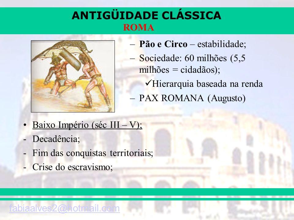 ANTIGÜIDADE CLÁSSICA fabiaalves2@hotmail.com ROMA –Pão e Circo – estabilidade; –Sociedade: 60 milhões (5,5 milhões = cidadãos); Hierarquia baseada na