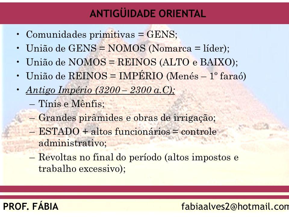 ANTIGÜIDADE ORIENTAL PROF. FÁBIAfabiaalves2@hotmail.com Comunidades primitivas = GENS; União de GENS = NOMOS (Nomarca = líder); União de NOMOS = REINO