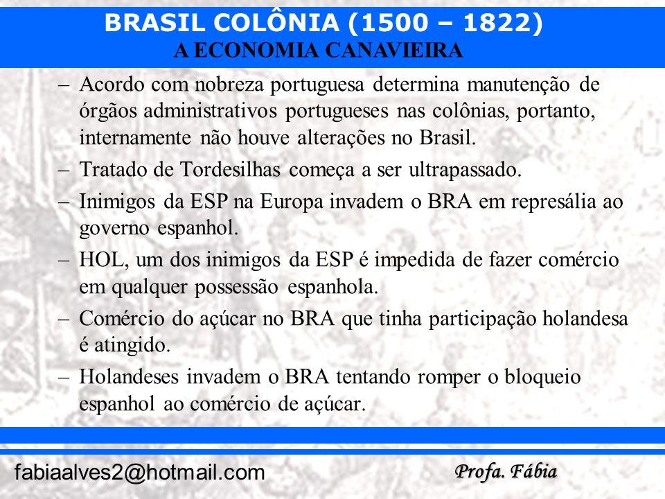 BRASIL COLÔNIA (1500 – 1822) Profa. Fábia fabiaalves2@hotmail.com A ECONOMIA CANAVIEIRA –Acordo com nobreza portuguesa determina manutenção de órgãos