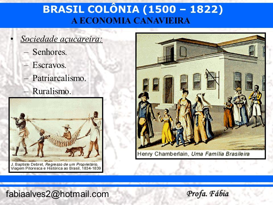 BRASIL COLÔNIA (1500 – 1822) Profa. Fábia fabiaalves2@hotmail.com A ECONOMIA CANAVIEIRA Sociedade açucareira: –Senhores. –Escravos. –Patriarcalismo. –