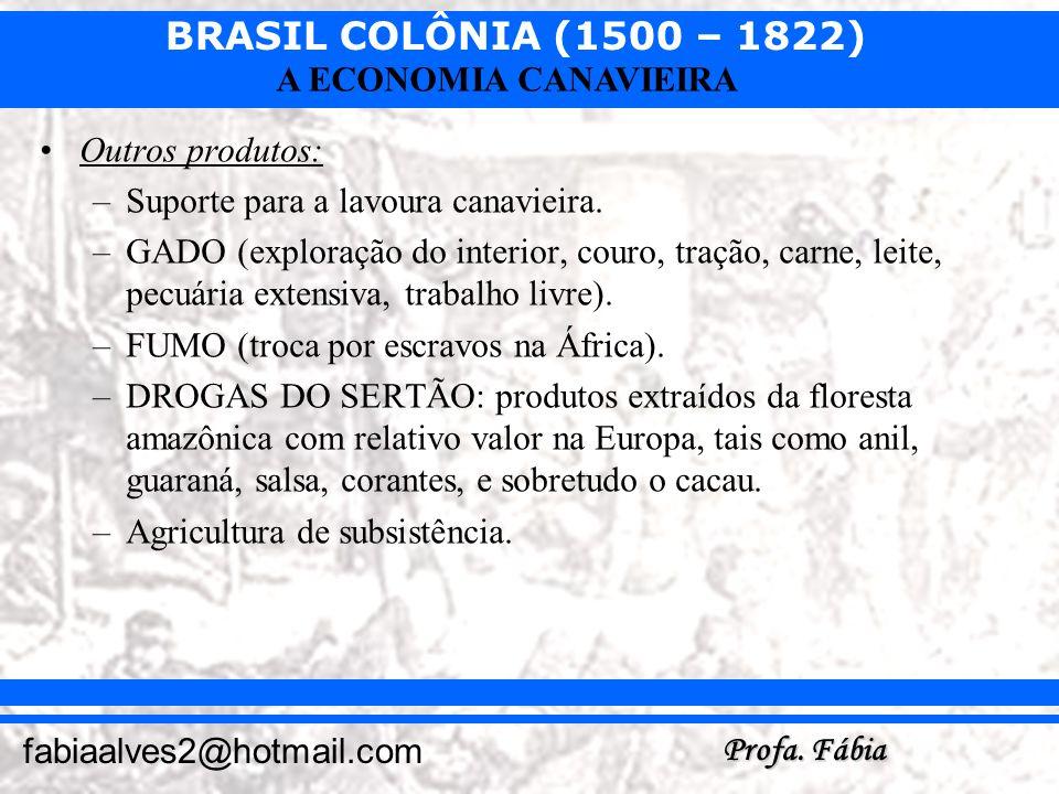 BRASIL COLÔNIA (1500 – 1822) Profa. Fábia fabiaalves2@hotmail.com A ECONOMIA CANAVIEIRA Outros produtos: –Suporte para a lavoura canavieira. –GADO (ex