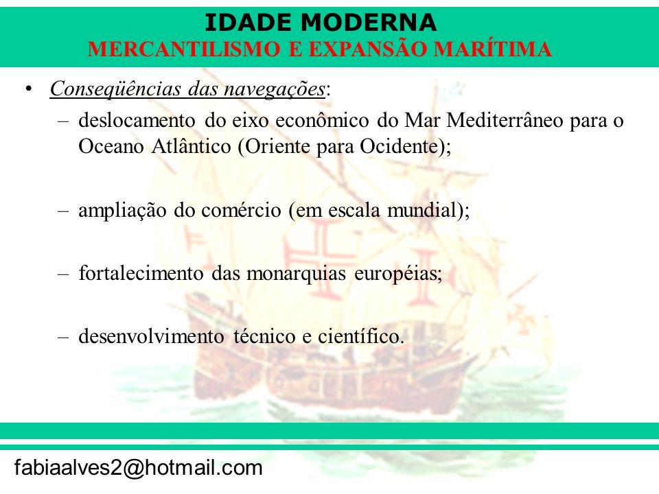 IDADE MODERNA fabiaalves2@hotmail.com MERCANTILISMO E EXPANSÃO MARÍTIMA Conseqüências das navegações: –deslocamento do eixo econômico do Mar Mediterrâ