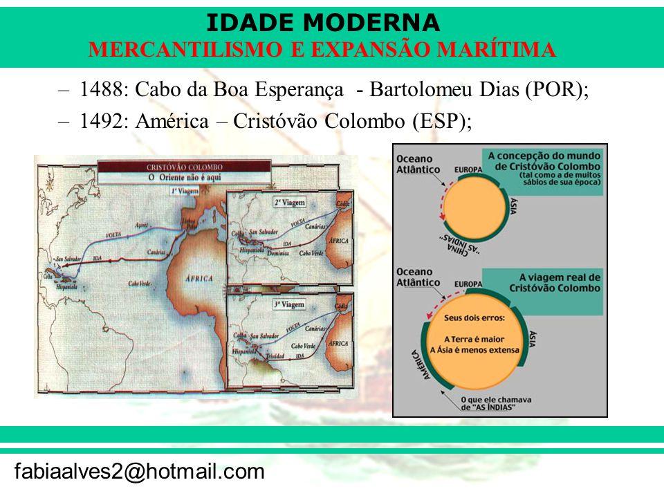 IDADE MODERNA fabiaalves2@hotmail.com MERCANTILISMO E EXPANSÃO MARÍTIMA –1498: Índias (via África) – Vasco da Gama (POR); –1500: Brasil – Pedro Álvares Cabral (POR); –1519: Circunavegação – Fernão de Magalhães (ESP); CIRCUNAVEGAÇÃO DESCOBRIMENTO DO BRASIL ROTA DE VASCO DA GAMA