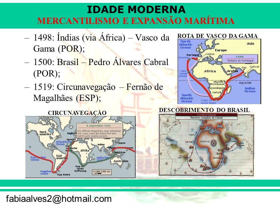 IDADE MODERNA fabiaalves2@hotmail.com MERCANTILISMO E EXPANSÃO MARÍTIMA –1498: Índias (via África) – Vasco da Gama (POR); –1500: Brasil – Pedro Álvare