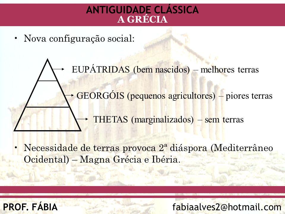 ANTIGUIDADE CLÁSSICA PROF. FÁBIA fabiaalves2@hotmail.com A GRÉCIA Nova configuração social: Necessidade de terras provoca 2ª diáspora (Mediterrâneo Oc