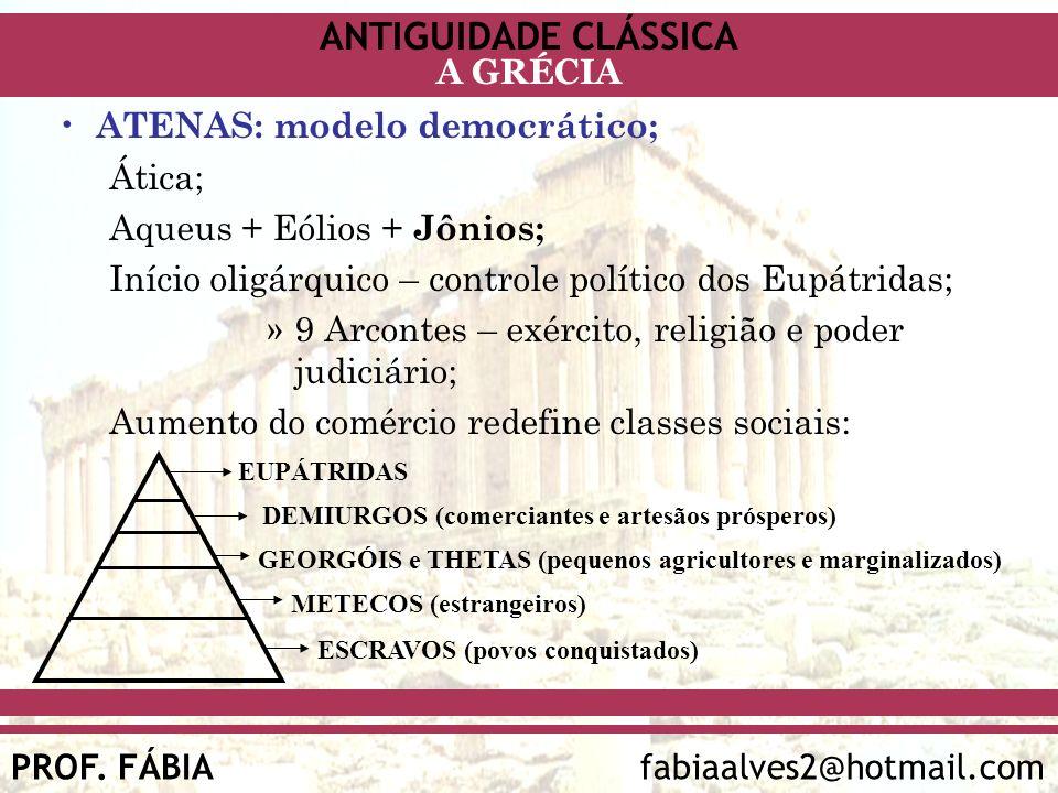 ANTIGUIDADE CLÁSSICA PROF. FÁBIA fabiaalves2@hotmail.com A GRÉCIA ATENAS: modelo democrático; Ática; Aqueus + Eólios + Jônios; Início oligárquico – co