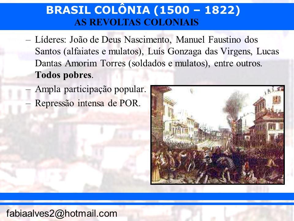 BRASIL COLÔNIA (1500 – 1822) fabiaalves2@hotmail.com AS REVOLTAS COLONIAIS –Líderes: João de Deus Nascimento, Manuel Faustino dos Santos (alfaiates e
