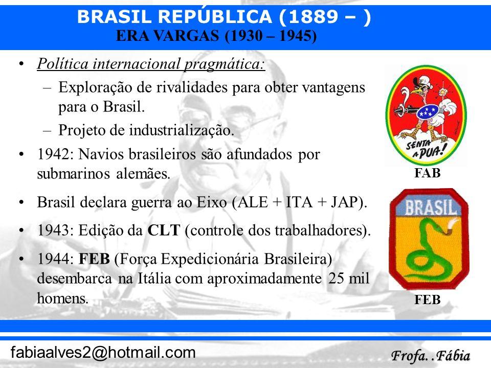 BRASIL REPÚBLICA (1889 – ) Frofa..Fábia fabiaalves2@hotmail.com ERA VARGAS (1930 – 1945) Política internacional pragmática: –Exploração de rivalidades