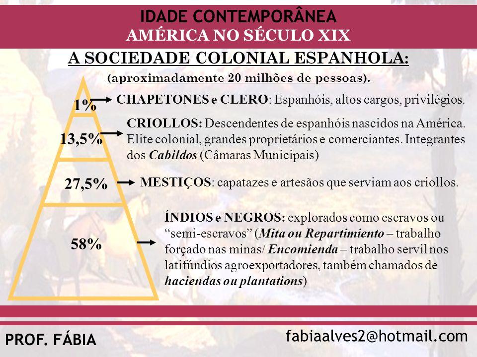 IDADE CONTEMPORÂNEA fabiaalves2@hotmail.com AMÉRICA NO SÉCULO XIX PROF. FÁBIA A SOCIEDADE COLONIAL ESPANHOLA: (aproximadamente 20 milhões de pessoas).