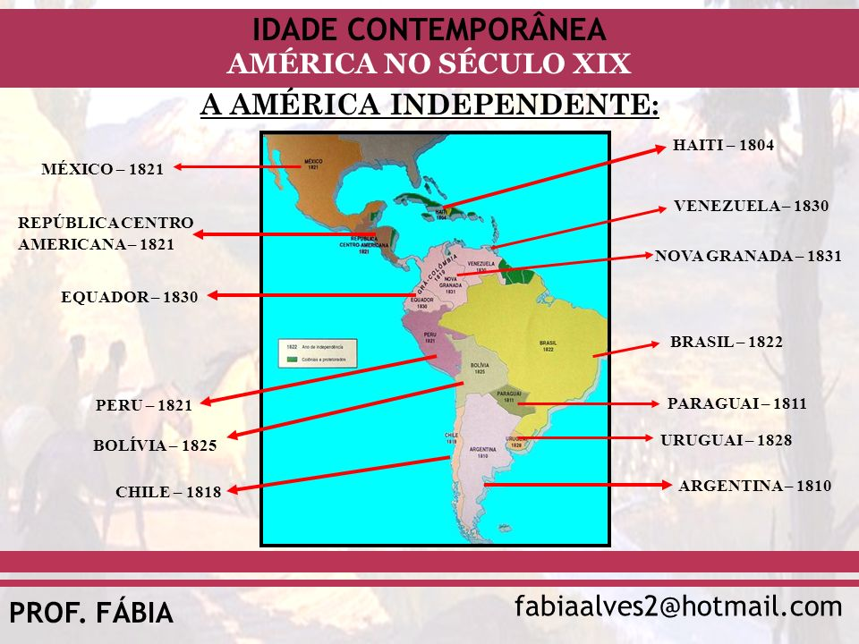 IDADE CONTEMPORÂNEA fabiaalves2@hotmail.com AMÉRICA NO SÉCULO XIX PROF. FÁBIA A AMÉRICA INDEPENDENTE: MÉXICO – 1821 REPÚBLICA CENTRO AMERICANA – 1821