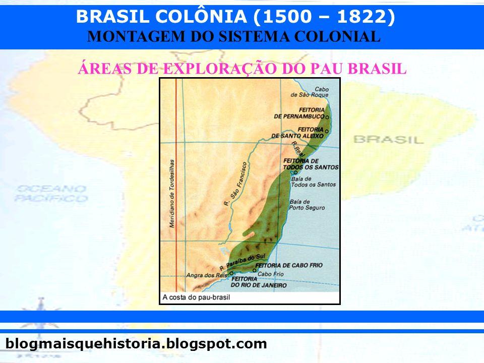 BRASIL COLÔNIA (1500 – 1822) blogmaisquehistoria.blogspot.com MONTAGEM DO SISTEMA COLONIAL ÁREAS DE EXPLORAÇÃO DO PAU BRASIL