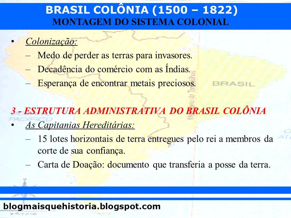 BRASIL COLÔNIA (1500 – 1822) blogmaisquehistoria.blogspot.com MONTAGEM DO SISTEMA COLONIAL Colonização: –Medo de perder as terras para invasores. –Dec