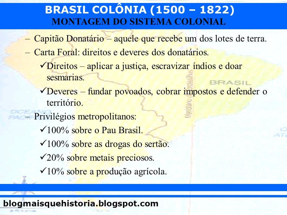 BRASIL COLÔNIA (1500 – 1822) blogmaisquehistoria.blogspot.com MONTAGEM DO SISTEMA COLONIAL –Capitão Donatário – aquele que recebe um dos lotes de terr