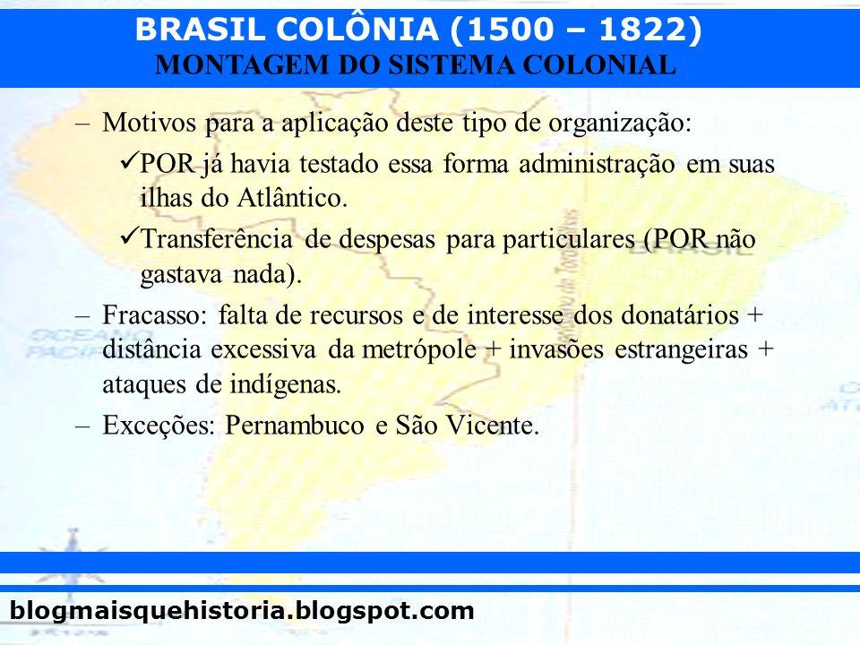 BRASIL COLÔNIA (1500 – 1822) blogmaisquehistoria.blogspot.com MONTAGEM DO SISTEMA COLONIAL –Motivos para a aplicação deste tipo de organização: POR já